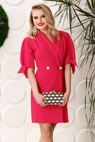 PrettyGirl coral elegant blazer type dress slightly elastic fabric with v-neckline short sleeves