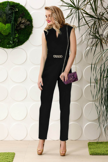 PrettyGirl black occasional jumpsuit soft fabric with pockets sleeveless with metalic accessory