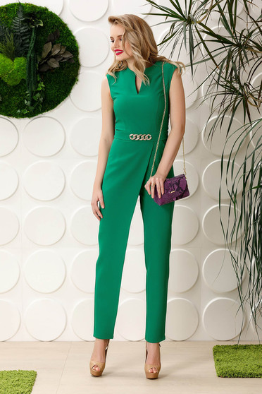PrettyGirl green occasional jumpsuit soft fabric with pockets sleeveless with metalic accessory