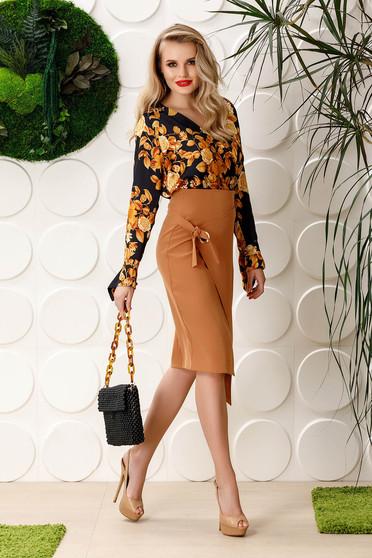 PrettyGirl brown skirt office midi pencil slightly elastic fabric high waisted