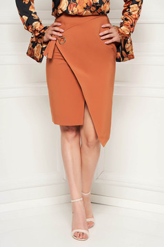 Brown skirt office midi pencil slightly elastic fabric high waisted