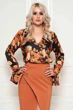 PrettyGirl brown office flared women`s blouse from satin fabric texture with floral prints