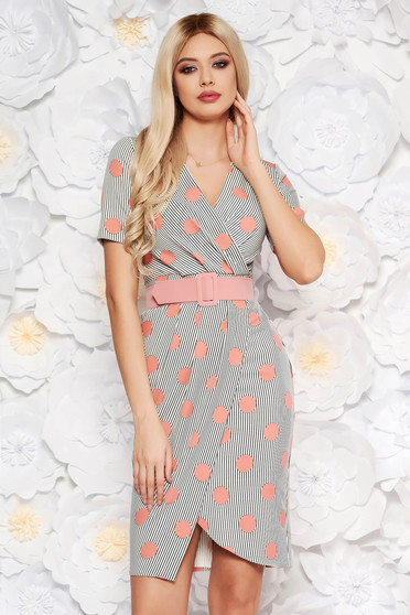 PrettyGirl rosa office midi pencil dress soft fabric accessorized with belt