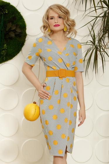 PrettyGirl mustard office midi pencil dress soft fabric accessorized with belt