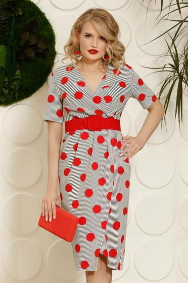 PrettyGirl red office midi pencil dress soft fabric accessorized with belt