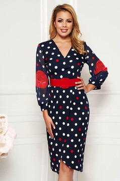 PrettyGirl red daily midi pencil dress slightly elastic fabric with veil sleeves accessorized with belt