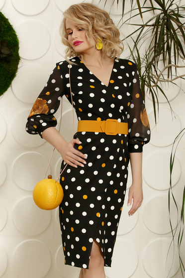 PrettyGirl mustard daily midi pencil dress slightly elastic fabric with veil sleeves accessorized with belt