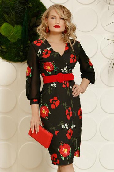 PrettyGirl red elegant midi pencil dress slightly elastic fabric accessorized with belt