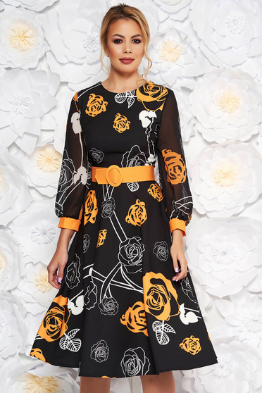PrettyGirl mustard elegant midi cloche dress slightly elastic fabric with veil sleeves accessorized with belt