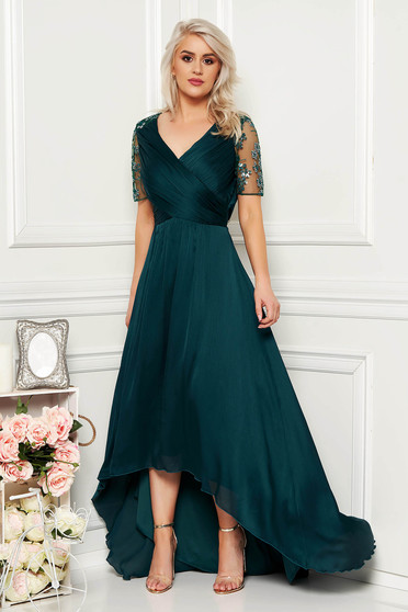 Artista darkgreen occasional asymmetrical dress thin fabric with inside lining with sequin embellished details