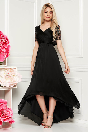 Artista black occasional asymmetrical dress thin fabric with inside lining with sequin embellished details