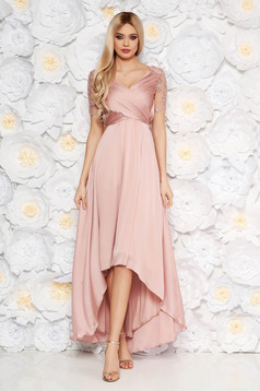 Artista rosa occasional asymmetrical dress thin fabric with inside lining with sequin embellished details