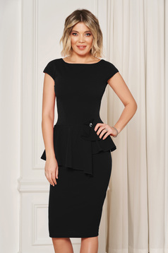 StarShinerS black elegant pencil dress with tented cut with frilled waist