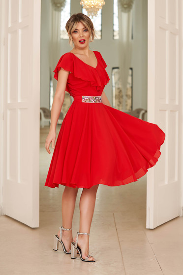 StarShinerS red occasional cloche dress voile fabric with ruffle details accessorized with tied waistband