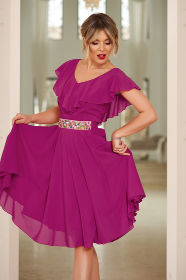 StarShinerS fuchsia occasional cloche dress voile fabric with ruffle details accessorized with tied waistband