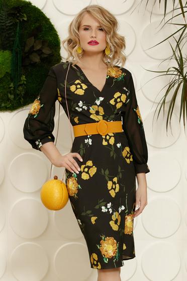 PrettyGirl mustard elegant midi pencil dress slightly elastic fabric accessorized with belt