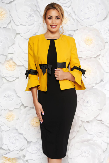 LaDonna mustard elegant cloth lady set with bell sleeve