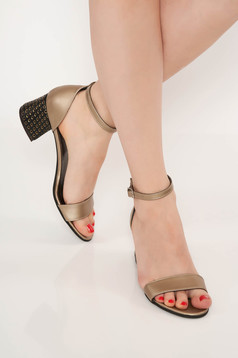 Darkgrey elegant sandals natural leather chunky heel