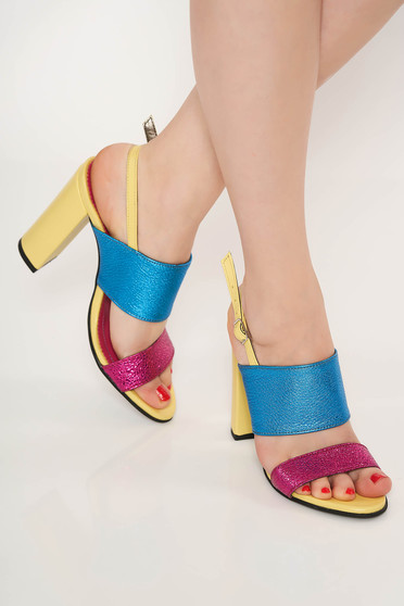 Yellow elegant office sandals natural leather chunky heel