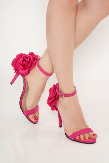 Fuchsia occasional sandals natural leather with floral details