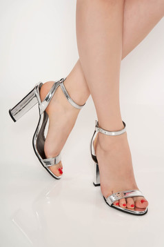 Silver occasional sandals natural leather chunky heel