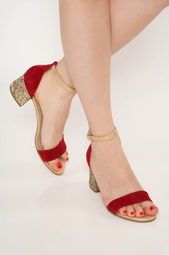 Burgundy occasional sandals natural leather chunky heel with glitter details