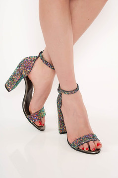 Lightgreen occasional sandals chunky heel natural leather with glitter details
