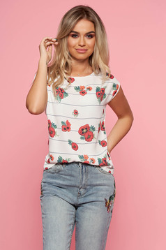 Top Secret white casual flared t-shirt short sleeve slightly elastic fabric with floral print