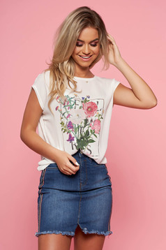 Top Secret white casual flared t-shirt airy fabric with floral print