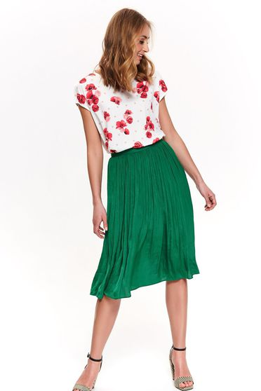 Top Secret white casual flared t-shirt thin fabric with floral print