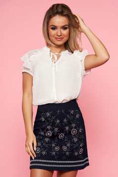 Top Secret white elegant with easy cut women`s blouse short sleeve with ruffle details