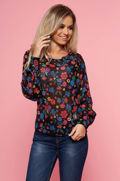 Top Secret black casual flared women`s blouse long sleeve thin fabric with floral prints
