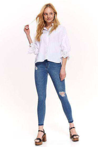 Top Secret white casual flared women`s shirt 3/4 sleeve cotton