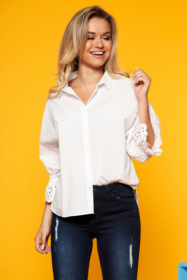 Top Secret white casual flared women`s shirt 3/4 sleeve cotton