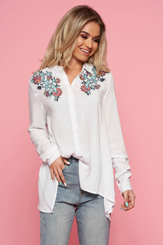 Top Secret white casual asymmetrical women`s shirt with easy cut airy fabric