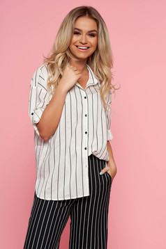 Top Secret white asymmetrical flared women`s shirt airy fabric with stripes