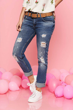 Blue casual jeans with ruptures nonelastic cotton
