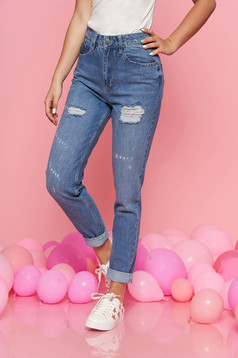 Blue casual jeans nonelastic cotton small rupture of material