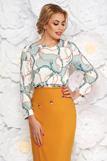 Lightgreen elegant flared women`s blouse soft fabric with graphic details
