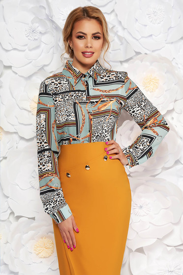 Lightgreen elegant office flared women`s shirt voile fabric with graphic details animal print