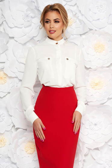 White elegant office flared women`s shirt airy fabric