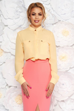 Yellow elegant office flared women`s shirt airy fabric