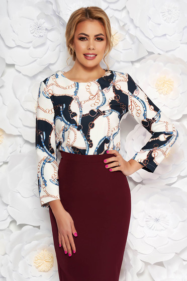 Lightblue elegant flared women`s blouse soft fabric with graphic details