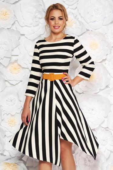 LaDonna black elegant daily asymmetrical cloche dress slightly elastic fabric accessorized with belt