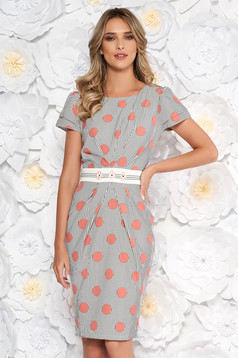 LaDonna rosa elegant daily pencil dress with embroidery details slightly elastic fabric dots print