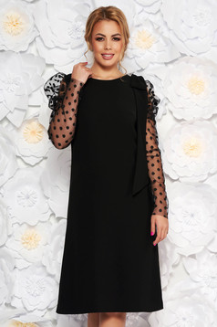 Black occasional flared dress transparent sleeves