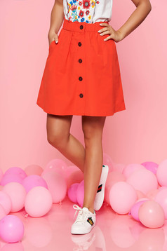 Top Secret red casual cloche skirt cotton with elastic waist