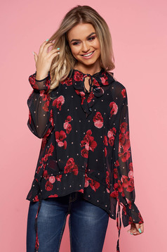 Top Secret darkblue elegant flared women`s blouse slightly transparent fabric with floral prints with ruffle details