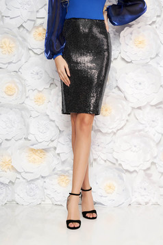 StarShinerS silver occasional pencil skirt with medium waist from shiny fabric