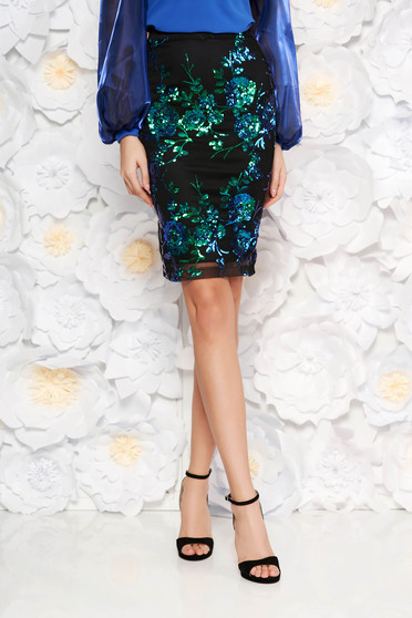 StarShinerS blue occasional midi pencil skirt with sequins with inside lining
